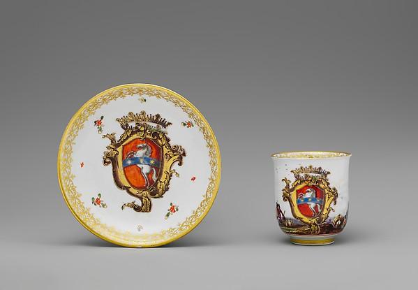 Cup and saucer, Meissen Manufactory (German, 1710–present), Hard-paste porcelain, German, Meissen