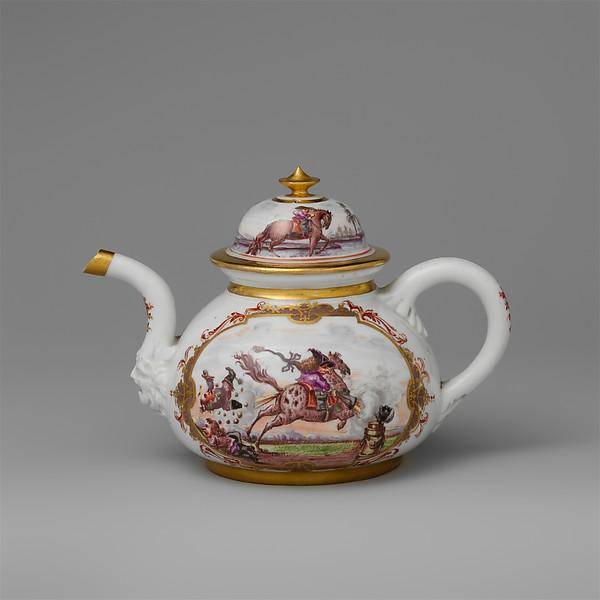 Teapot with equestrian scene, Meissen Manufactory (German, 1710–present), Hard-paste porcelain painted with colored enamels over transparent glaze, German, Meissen
