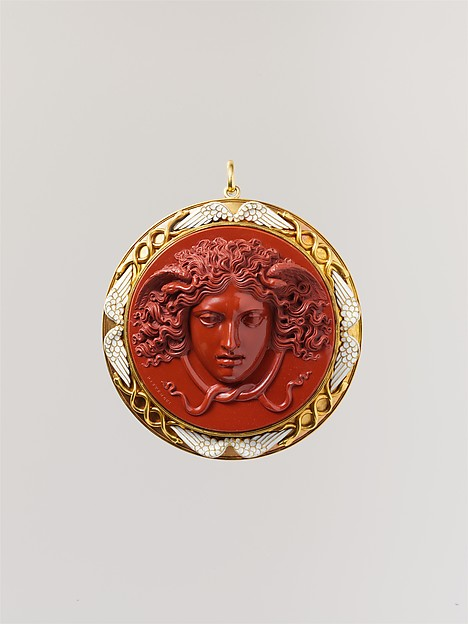 Head of Medusa, Cameo by Benedetto Pistrucci (Italian, 1783–1855, active England), Red jasper mounted in gold with white enamel, Italian, executed in England (London)