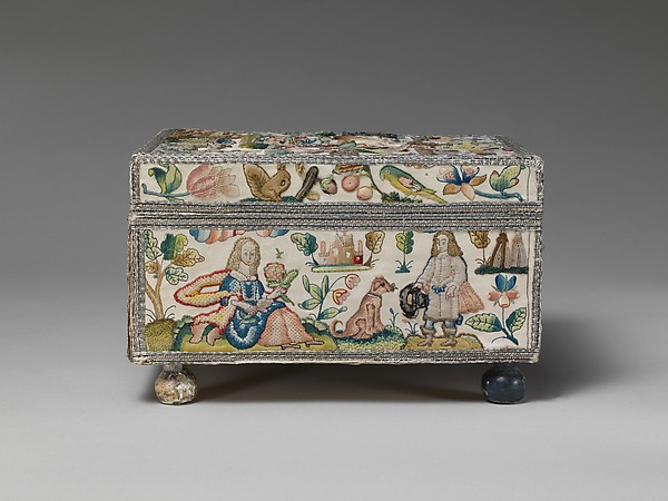 Cabinet with personifications of the Five Senses, Satin worked with silk and metal thread, purl, chenille, seed pearls, coral beads, and mica; tent, knots, rococo, satin, couching, and detached buttonhole stitches; woven metal thread trim; silk and paper lining; wood frame; turned wooden feet, British