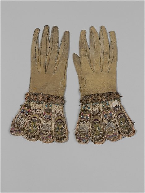 Pair of gloves, Leather, satin worked with silk and metal thread, seed pearls; satin, couching, and darning stitches; metal bobbin lace; paper, British