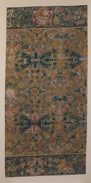 Table carpet fragment, Canvas worked with wool and silk thread; tent stitch, British