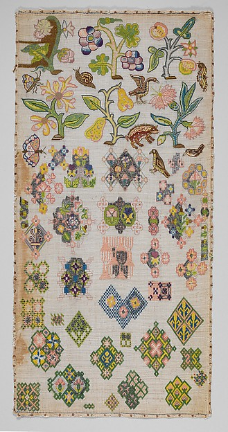 Sampler, Canvas worked with silk and metal thread; tent, cross, back, plaited braid, knots, laid work, and detached buttonhole stitches, British