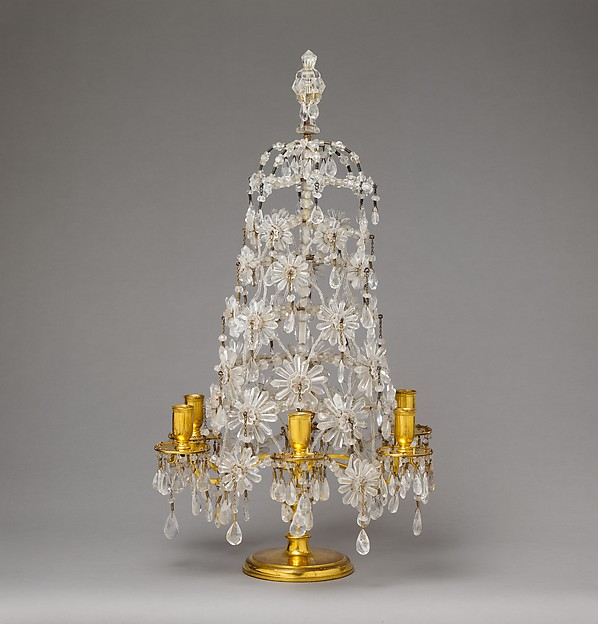 Six-light candelabrum (girandole) (one of a pair), Rock crystal, gilt bronze, silvered brass, iron, brass wire, glass, possibly Swedish