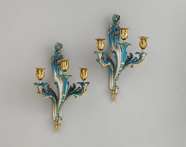 Pair of three-light wall sconces (Bras de cheminée), Sèvres Manufactory (French, 1740–present), Soft-paste porcelain, gilt bronze, French, Sèvres