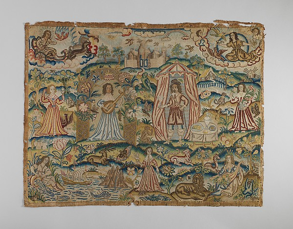 The Five Senses and the Four Elements, Canvas worked with silk thread; tent, rococo, knot, and couching stitches, British