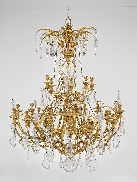 Twenty-four-light chandelier (lustre) (one of a pair), Gilt bronze, rock crystal, French