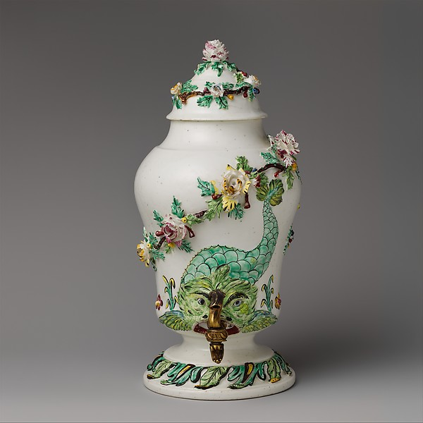 Fountain with cover and spigot, Mennecy, Tin-glazed soft-paste porcelain; gilt bronze, French, Mennecy