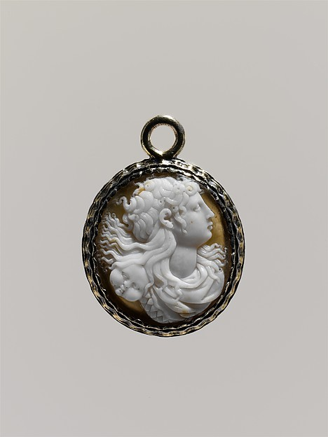 Head of a Medusa (?), Onyx or sardonyx, mounted in silver, probably French