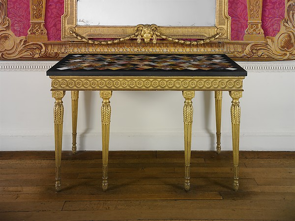 Side table, Table top by John Wildsmith (active 1757–69), Carved and gilded pine; marbles, including rosso and nero antico, orange Veronese, yellow Siena, brown, gray, and white fleur de pêcher, black and gold Portor, orange and violet Spanish brocatello, and white Carrara, and hardstones, including gray and red granite, red and white jasper, pink quartz, porphyry, bloodstone, serpentine, golden and brown agate and onyx, and lapis lazuli, British, London