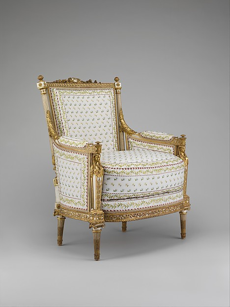 Armchair (bergère) (part of a set), Jean-Baptiste-Claude Sené (1748–1803), Carved, painted and gilded walnut; modern cotton twill embroidered in silk, French, Paris