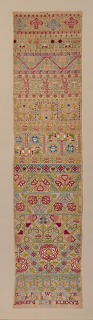 Embroidered band sampler, Mary Pots, Silk embroidery on linen; double running, satin, detached buttonhole, Montenegrin cross, herringbone, and chain stitches, British