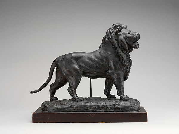 Standing Lion (Lionne debout), Attributed to Antoine-Louis Barye (French, Paris 1796–1875 Paris), Plaster, covered with wax, on a wooden base, French