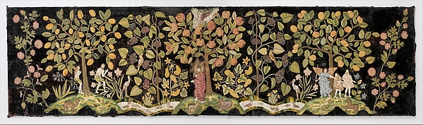 The Garden of Eden, Velvet worked with silk and metal thread; long-and-short, split, stem, satin, chain, knots, and couching stitches; applied canvas worked with silk thread in tent stitch, British