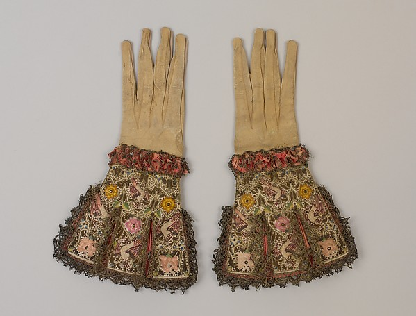 Pair of gloves, Leather, satin worked with silk and metal thread; long-and-short, satin knot, and couching stitches; metal bobbin lace, British