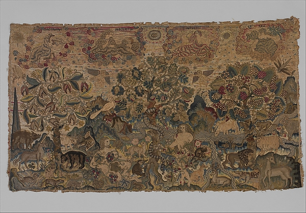 Adam and Eve in the Garden of Eden with Virtues, Canvas worked with silk, metal thread, glass beads, spangles; tent, Gobelin, satin, long-and-short, cross, and couching stitches, British