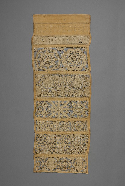Sampler with needle lace and cutwork, Sarah Thral, Linen embroidered with linen thread; reticella, satin, and eye stitches, British