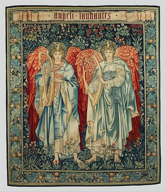 Angeli Laudantes, Sir Edward Burne-Jones (British, Birmingham 1833–1898 Fulham) (figures), Dyed wool and silk on undyed cotton warp (15 warps per inch; 5-6 per cm.), British, Merton Abbey