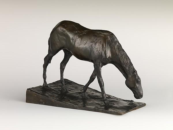 Horse at Trough, Edgar Degas (French, Paris 1834–1917 Paris), Bronze, French