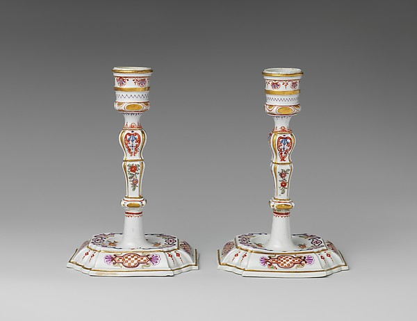 Pair of candlesticks, Vienna, Hard-paste porcelain, Austrian, Vienna