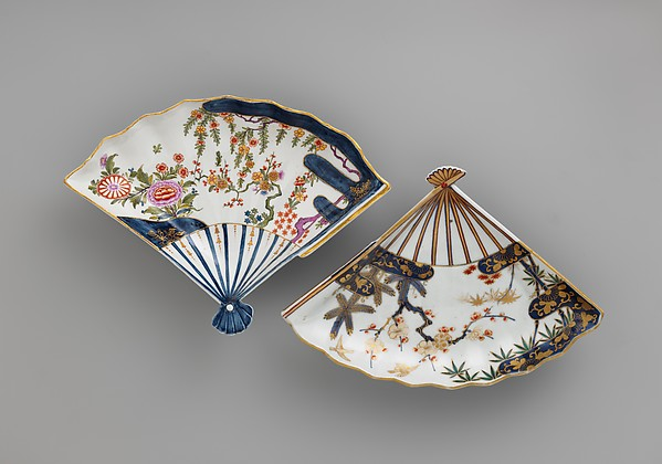 Fan-shaped dish, Vienna, Hard-paste porcelain painted with colored enamels over transparent glaze, Austrian, Vienna