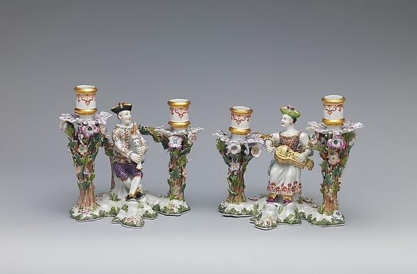 Candelabrum (one of a pair), Vienna, Hard-paste porcelain, Austrian, Vienna