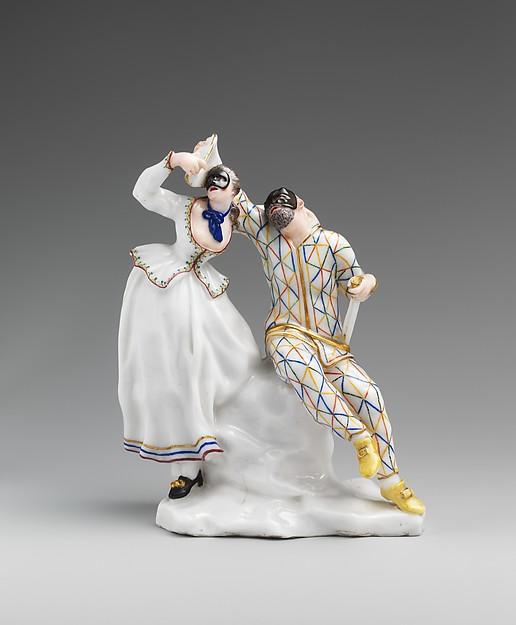 Harlequin and Columbine, Capodimonte Porcelain Factory (Italian, 1740/43–1759), Soft-paste porcelain, Italian, Naples