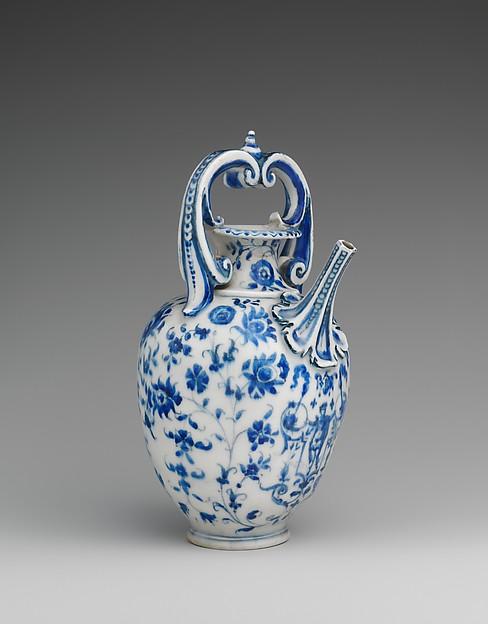Ewer (Brocca), Medici Porcelain Factory (Italian, Florence, ca. 1575–ca. 1587), Soft-paste porcelain, Italian, Florence