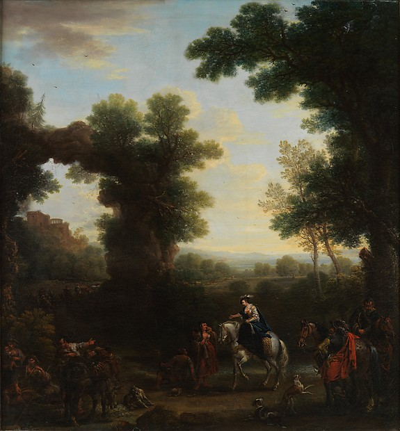 Classical Landscape with Gypsies, John Wootton (British, Snitterfield, Warwickshire 1681/82–1764 London), Oil on canvas, British