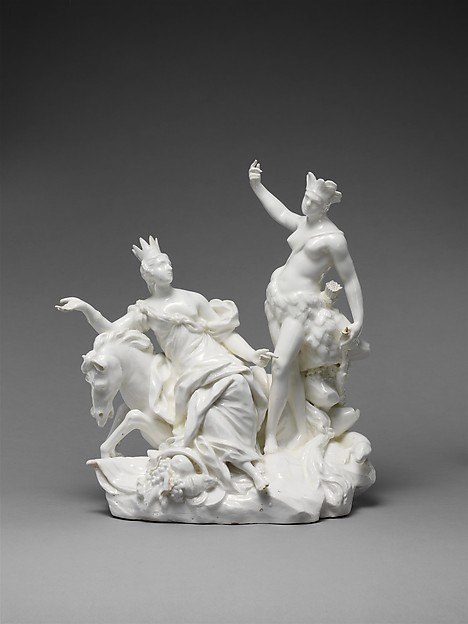 Europe and America, Vincennes Manufactory (French, ca. 1740–1756), Soft-paste porcelain, French, Vincennes