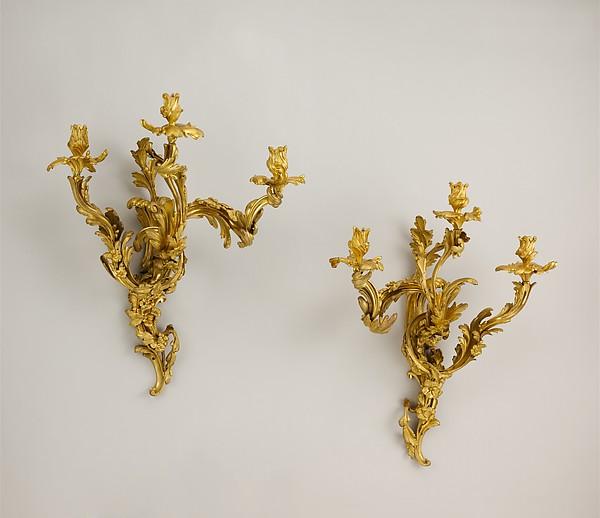 Set of four three-light sconces (bras de lumière), Gilt bronze, French, Paris
