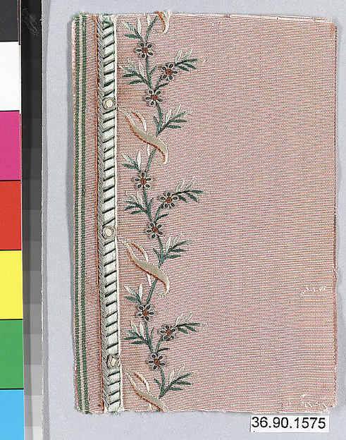 Sample, Silk and metal thread on silk, French