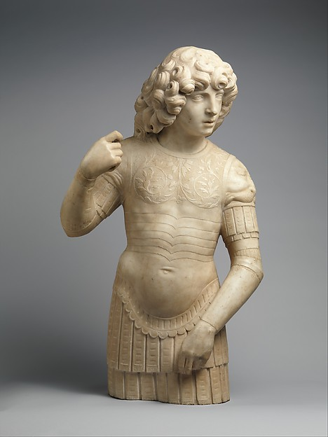 A Young Warrior, Tullio Lombardo (Italian, ca. 1455–1532)  , and workshop, White marble, Italian, Venice