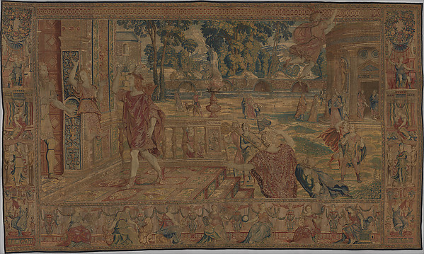 Mercury Changes Aglauros to Stone, from the Story of Mercury and Herse, Design attributed to Giovanni Battista Lodi da Cremona (Italian, active 1540–52), Wool, silk and precious metal-wrapped threads (20-22 warps per inch, 8-9 warps per cm.), Flemish, Brussels