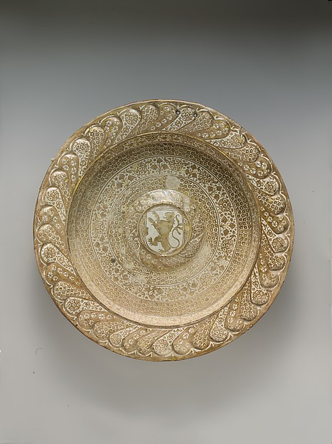 Dish (brasero) with Heraldic Lion, Tin-glazed and luster-painted earthenware, Spanish, Valencia