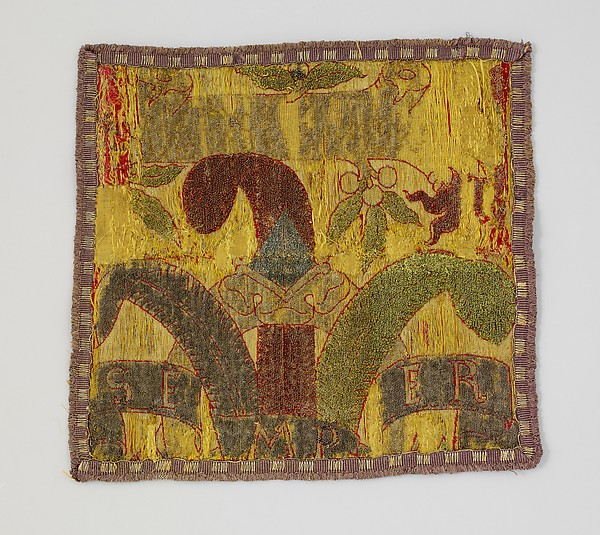 Fragments of a textile with Medici emblems, Silk, metal thread, Italian, probably Florence