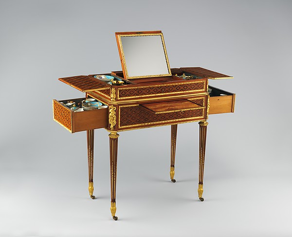 Combination table, Martin Carlin (French, near Freiburg im Breisgau ca. 1730–1785 Paris), Oak and pine veneered with tulipwood, sycamore, holly, boxwood and ebony; Carrara marble; gilt-bronze mounts; accessories of Sèvres porcelain, rock crystal, silver gilt, and lacquer, French, Paris