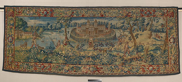 Hunters in a Landscape, Anonymous designer, Wool, silk (14 warps per inch; 5-6 per cm), British, probably London
