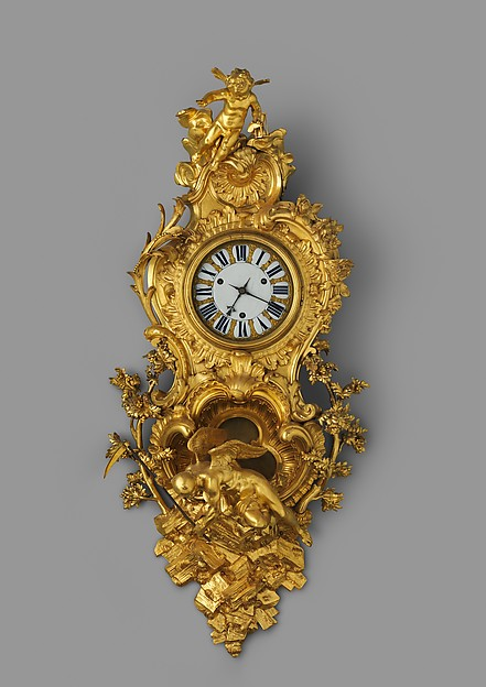 Wall clock (pendule en cartel), Clockmaker: Jean Godde l'aîné (French, ca. 1668–1748/49), Case: gilded bronze, oak, and tortoiseshell on brass marquetry on oak; Dial: white enamel and gilded brass with blued-steel hands; Movement: brass and steel, French, Paris