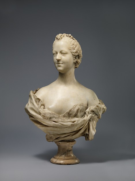 Madame de Pompadour (1721–1764), Jean-Baptiste Pigalle (French, 1714–1785), White marble (Sost, the French Pyrenees), French, Paris