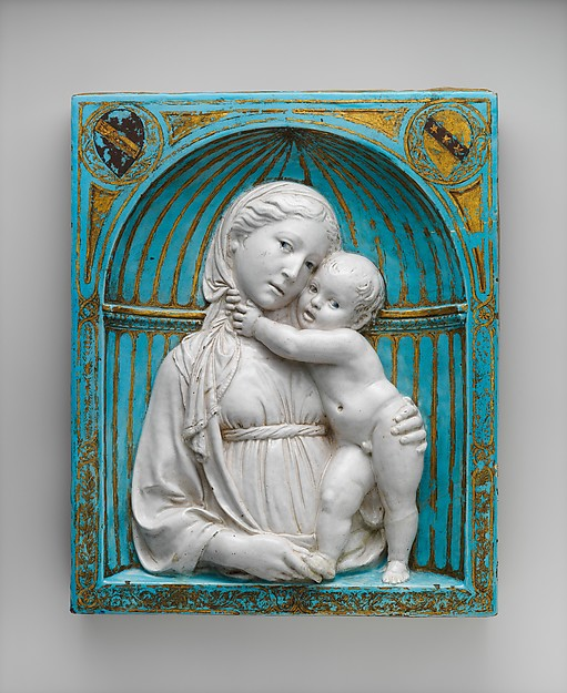 Virgin and Child in a niche, Luca della Robbia (Italian, 1399/1400–1482 Florence), Glazed terracotta with gilt and painted details, Italian, Florence