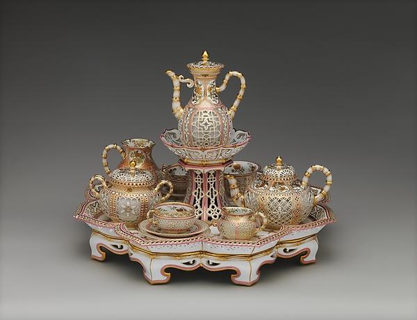 Coffee and tea service (déjeuner chinois réticulé), Sèvres Manufactory (French, 1740–present), Hard-paste porcelain, French, Sèvres