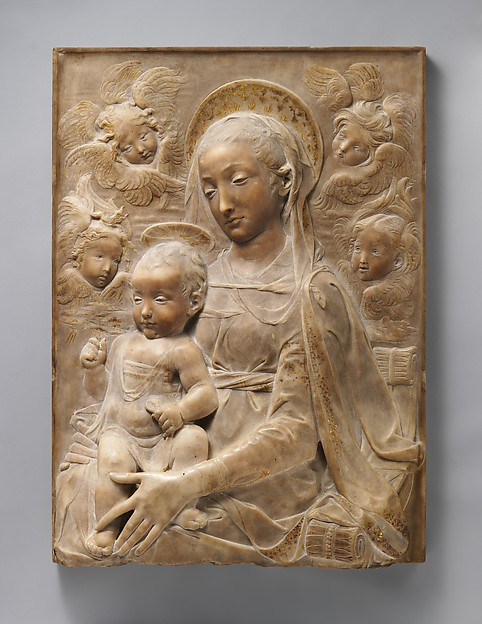 Madonna and Child with Angels, Antonio Rossellino (Italian, Settignano 1427–ca. 1479 Florence), Marble with gilt details on halo and dress, Italian, Florence