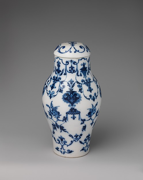 Vase with cover, Saint-Cloud factory (French, before 1698–1766), Soft-paste porcelain, French, Saint-Cloud