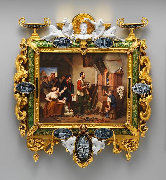 Plaque depicting Bernard Palissy, Sèvres Manufactory (French, 1740–present), Hard-paste porcelain; biscuit porcelain; enamel; gilt bronze, French, Sèvres