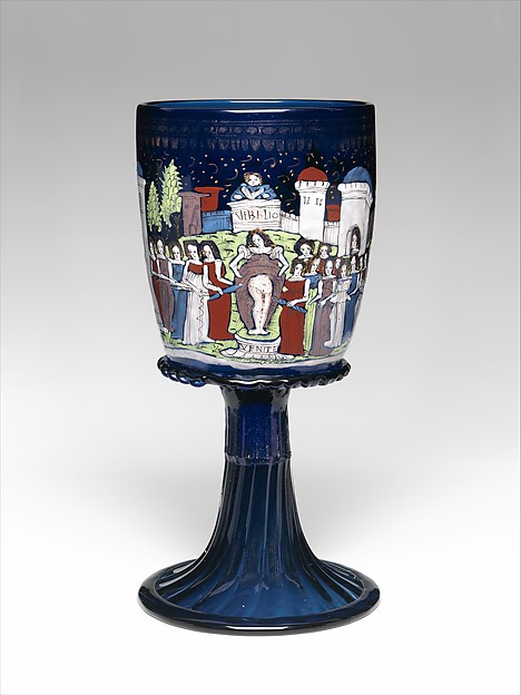Goblet, Glass, enameled and gilded, Italian, Venice, Murano