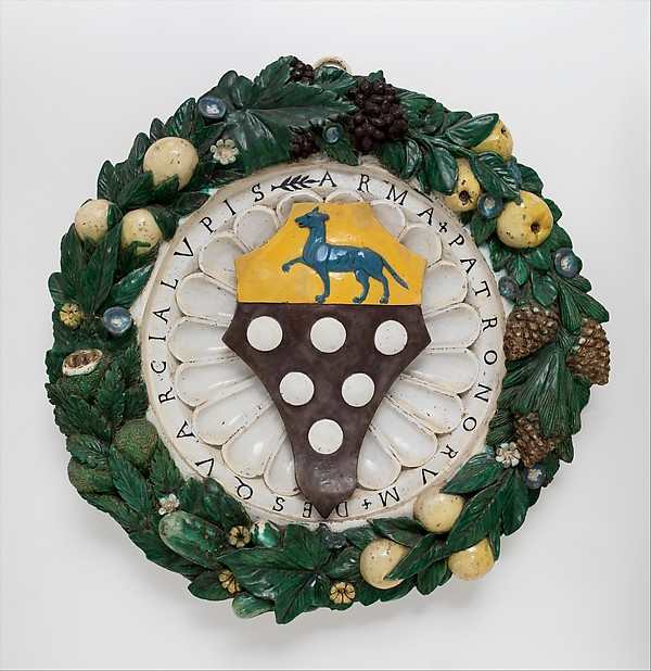 Armorial Tondo with the Arms of Squarci Lupi, School of Giovanni della Robbia (Italian, Florence 1469–1529/30 Florence), Painted and glazed terracotta, Italian, Florence