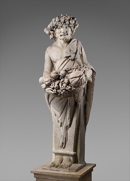 Autumn in the Guise of Priapus (one of a pair), Pietro Bernini (Italian, 1562–1629), Marble, Italian, Rome
