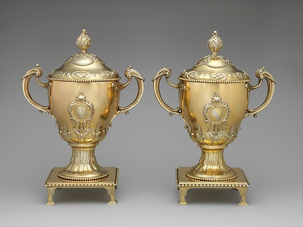 Cup with cover and stand (one of a pair), John Parker (British, active 1759–77), Silver-gilt, British, London