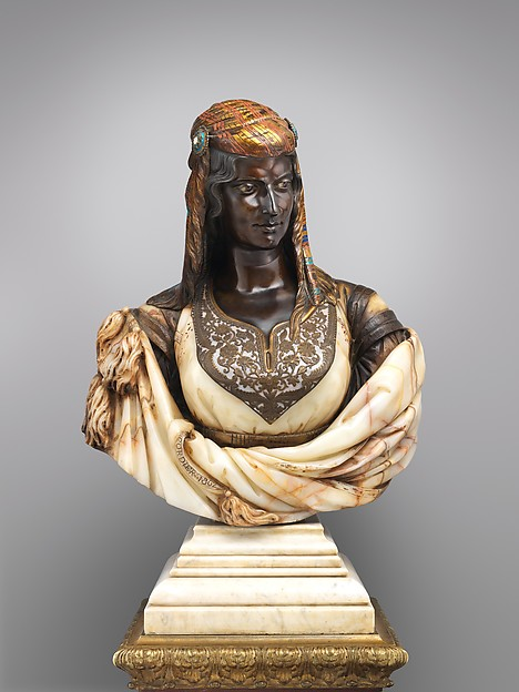 The Jewish Woman of Algiers, Charles-Henri-Joseph Cordier (French, 1827–1905), Algerian onyx-marble, bronze, gilt bronze, enamel, and amethyst eyes; white marble socle, French, Paris